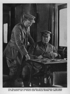 William Boyce Thompson on train at the table at which Czar Nicholas of Russia signed his abdication