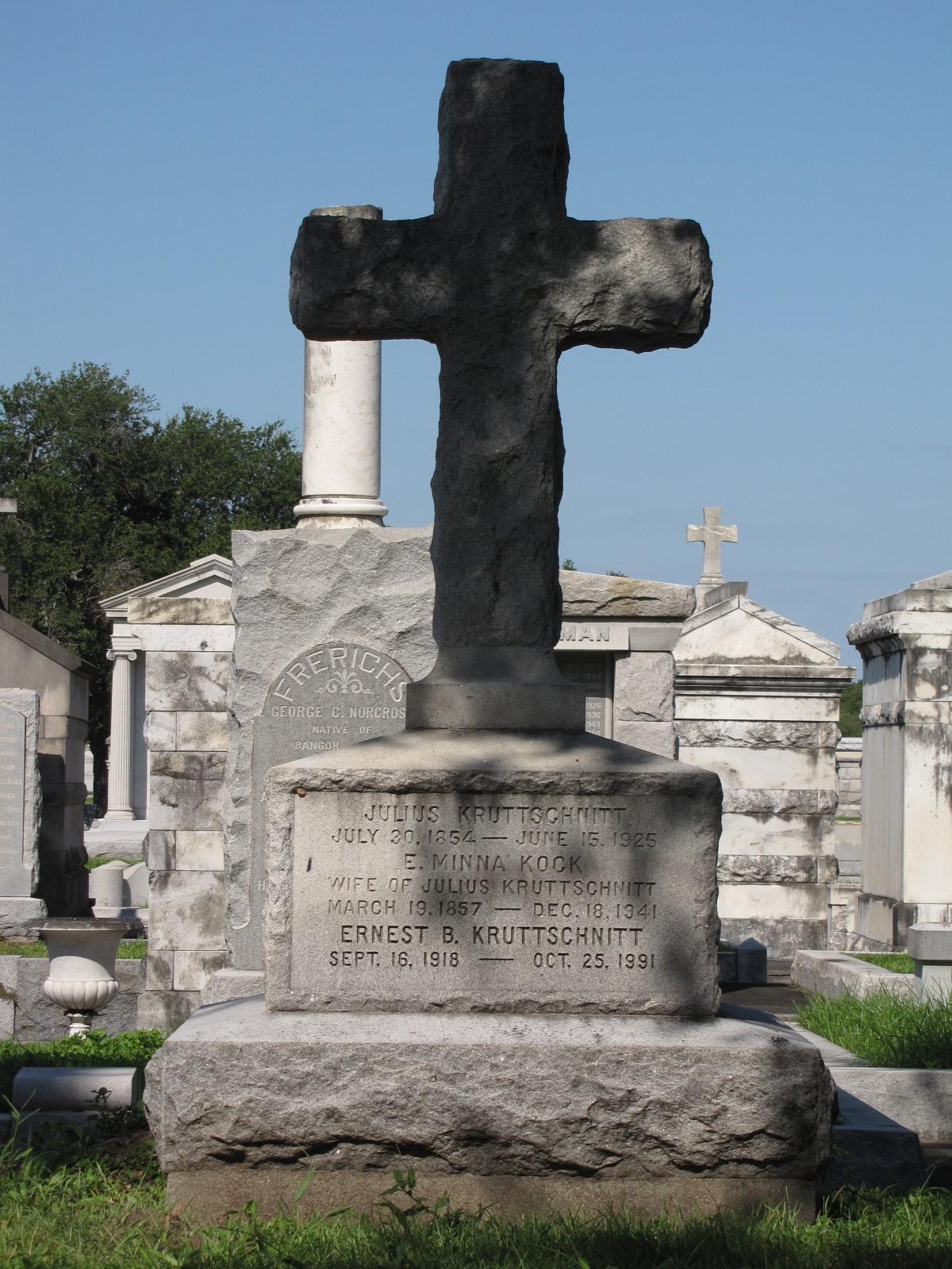 Julius Krutschnitt Grave in New Orleans